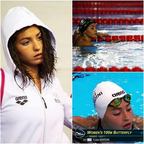 Yusra Mardini del equipo de refugiados pasa su hit eliminatorio en 100m mariposa en Río 2016