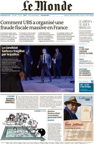 Le Monde du Jeudi 18 Février 2016