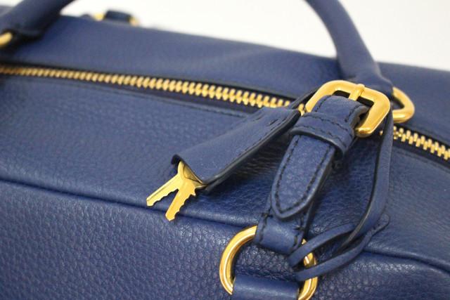 Prada Vitello Daino Bauletto B3091M Inchiostro Blue Leather BAG ...