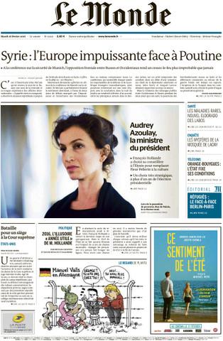 Le Monde du Mardi 16 Février 2016
