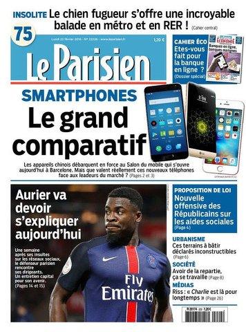Le Parisien + Journal de Paris du Lundi 22 février 2016