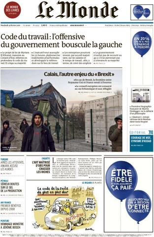 Le Monde du Vendredi 19 Février 2016