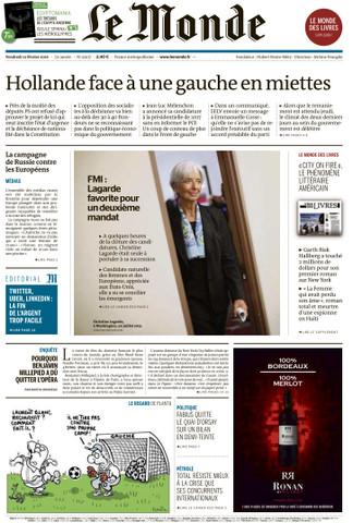 Le Monde du Vendredi 12 Février 2016
