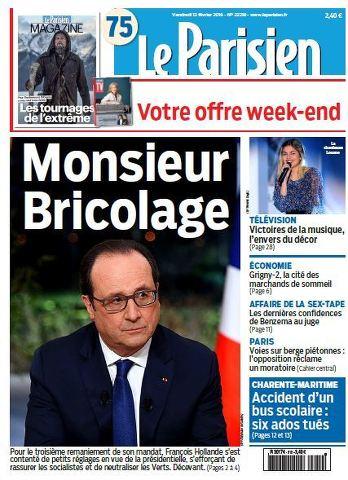 Le Parisien + Journal de Paris du Vendredi 12 Février 2016