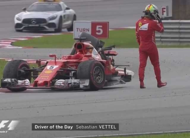 F1 2017 Malaysian GP Sebastian Vettel Driver Of The Day Car Broken By Lance Stroll After Finish