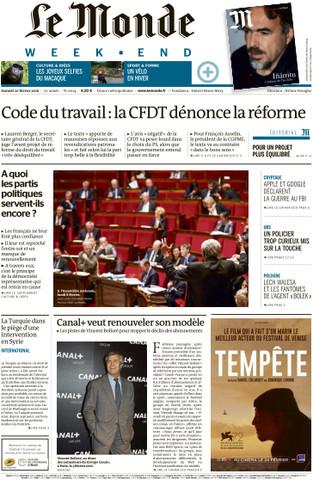 Le Monde week-end du Samedi 13 Février 2016