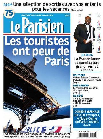 Le Parisien + Journal de Paris du Jeudi 18 Février 2016
