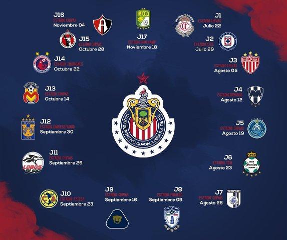 Calendario de las Chivas para el Torneo de Apertura del 2017
