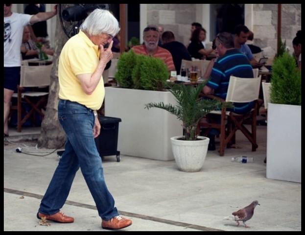 Bernie Ecclestone With Pigeons