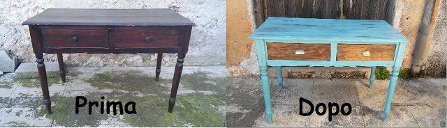 before and after ancient desk table renew