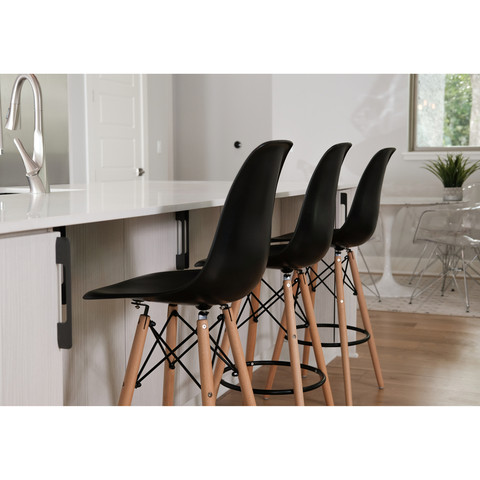 Charles Eames Style DSW Counter Stool In Black 27.5