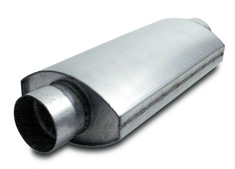 Muffler  Split Flow  Oval  4.00 Inch  14 Inches Long    Aluminized Steel