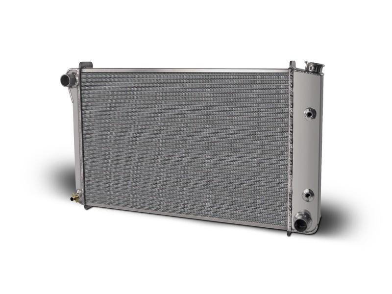 Aluminum Satin  Radiator and Shroud  1970-81 Firebird/Trans Am  Dual Satin Shroud    With Transcooler