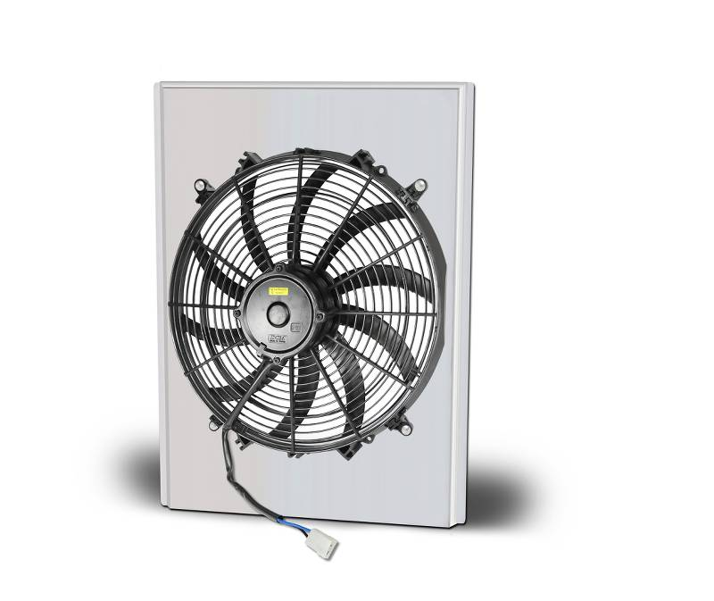 Aluminum Polish Fan And Shroud 16.88 Wide X 22.25 Tall Fits 80145, 80146, 81145, 81146 Radiator With No Transcooler