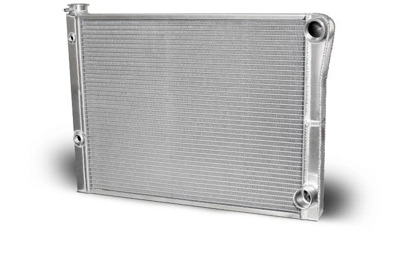 Double Pass Radiator Chevy 27.5 X 19 X 1.50 Core, Universal 20 AN Female Inlet with 1/2 And 1/8 bung