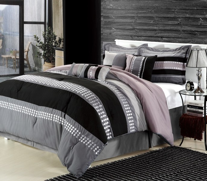 Scotts-sales 8pc Luxury Bedding Set- Castle Rock Grey/Black/Beige