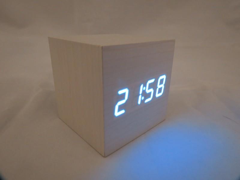 orologio a led sveglia da tavolo cubo legno display