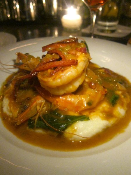 """Tonight's """"Green Plate special,"""" shrimp and grits scores haute diner impact."""