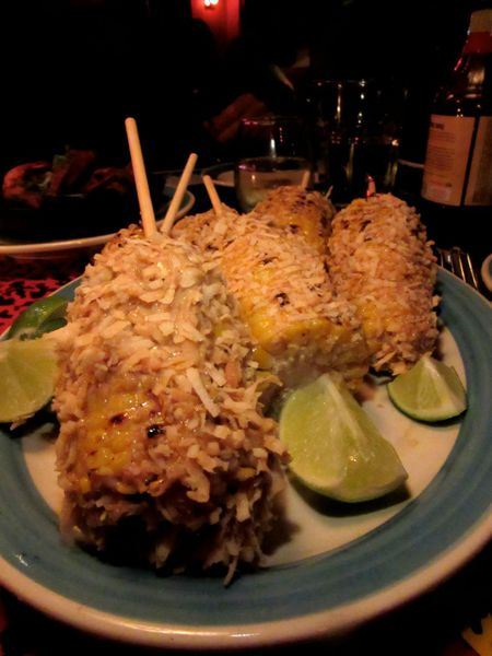 For me, the best taste of the evening: Toasted coconut-wrapped sweet corn oozing jerk mayo.