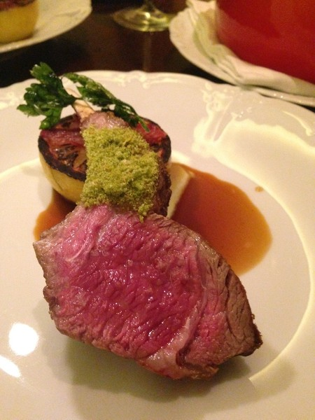 Chef Markus Glocker's huge lamb chop with gremolata crumbs is brilliantly rare. Photo by Zarela.