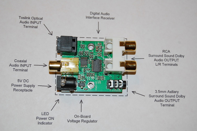 rca to coaxial schematic toslink optical digital to analog audio converter  toslink optical digital to analog audio converter