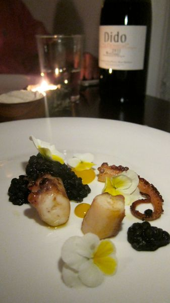 Ethereal octopus with black lentils. Dido, blends Grenache, Cabernet Sauvignon and Merlot.