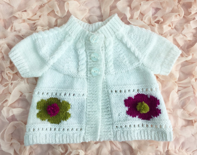 Knitting pattern to fit 6-12 month old baby flower cardigan short/long sleeve...