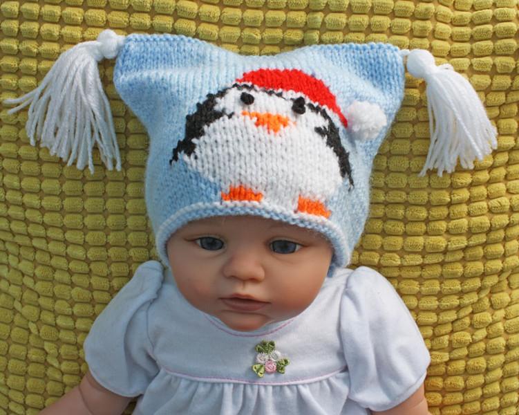 Knitting pattern for 0-24 month baby bobble hat teabag hat Christmas penguin ...