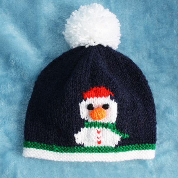Knitting Pattern For Snowman Hat : Knitting pattern for 0-24 month baby Snowman motif hats ...