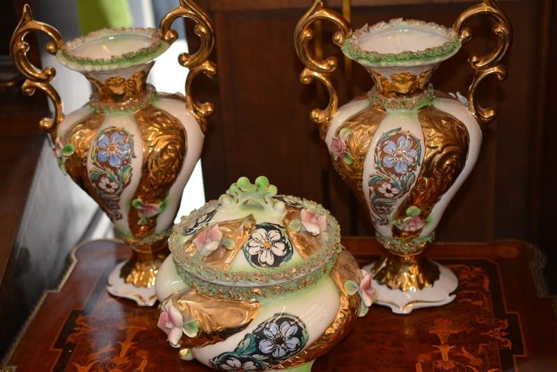 Trittico trio porcellana verde oro vaso ciotola for Vaso capodimonte