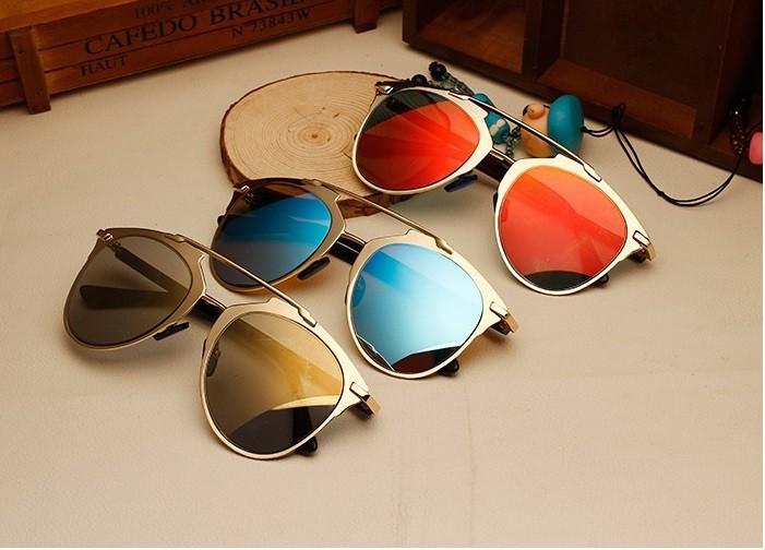 Occhiali da sole a specchio vintage retro 39 uomo donna real - Occhiali da sole a specchio ...