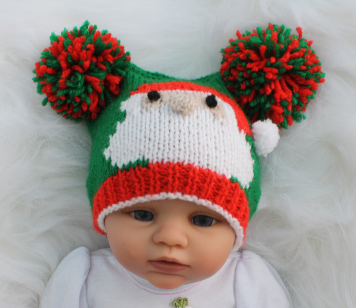 Knitting pattern for 0-24 month baby Santa motif bobble hat teabag hat christmas