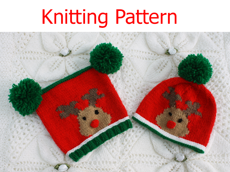 Knitting Pattern Reindeer Hat : Knitting pattern for 0-24 month baby Rudolph the Reindeer hats christmas eBay