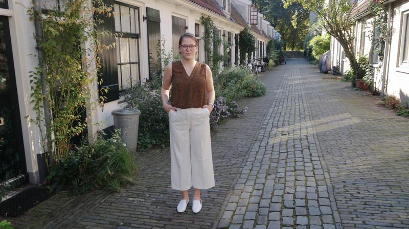outfit white culottes h&m zara mango classy elegance fashion