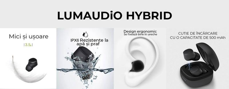 Casti Bluetooth LUMAUDiO® Hybrid - Cel Mai Discret Design