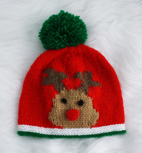 Knitting Pattern For Reindeer Hat : Knitting pattern for 0-24 month baby Rudolph the Reindeer hats christmas eBay