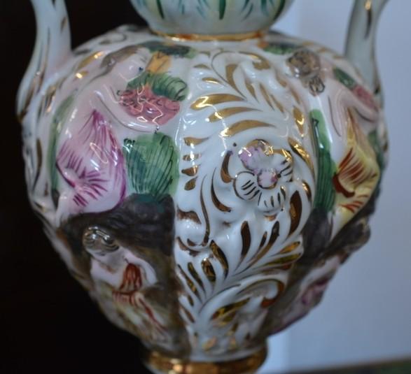 Antica coppia vasi capodimonte porcellana dipinta h 35 cm for Vasi capodimonte