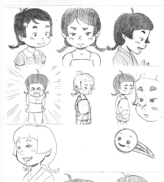 Nota de Dani: Estos son los primeros diseños que hice con la descripción de los personajes que me dio Fidel.