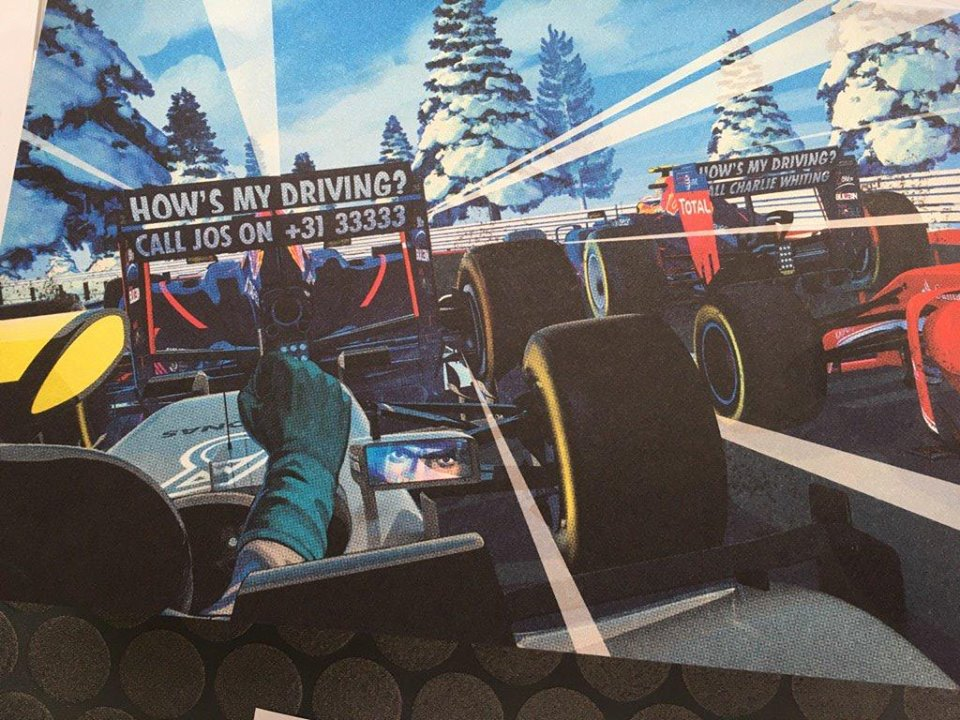 Red Bull Racing's 2016 Christmas Card - How's my driving? Call Jos on +31 33333 - How's my driving? Call Charlie Whiting