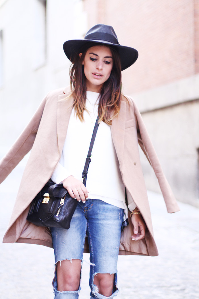 Dulceida camel coat Celebrity fashion style blog