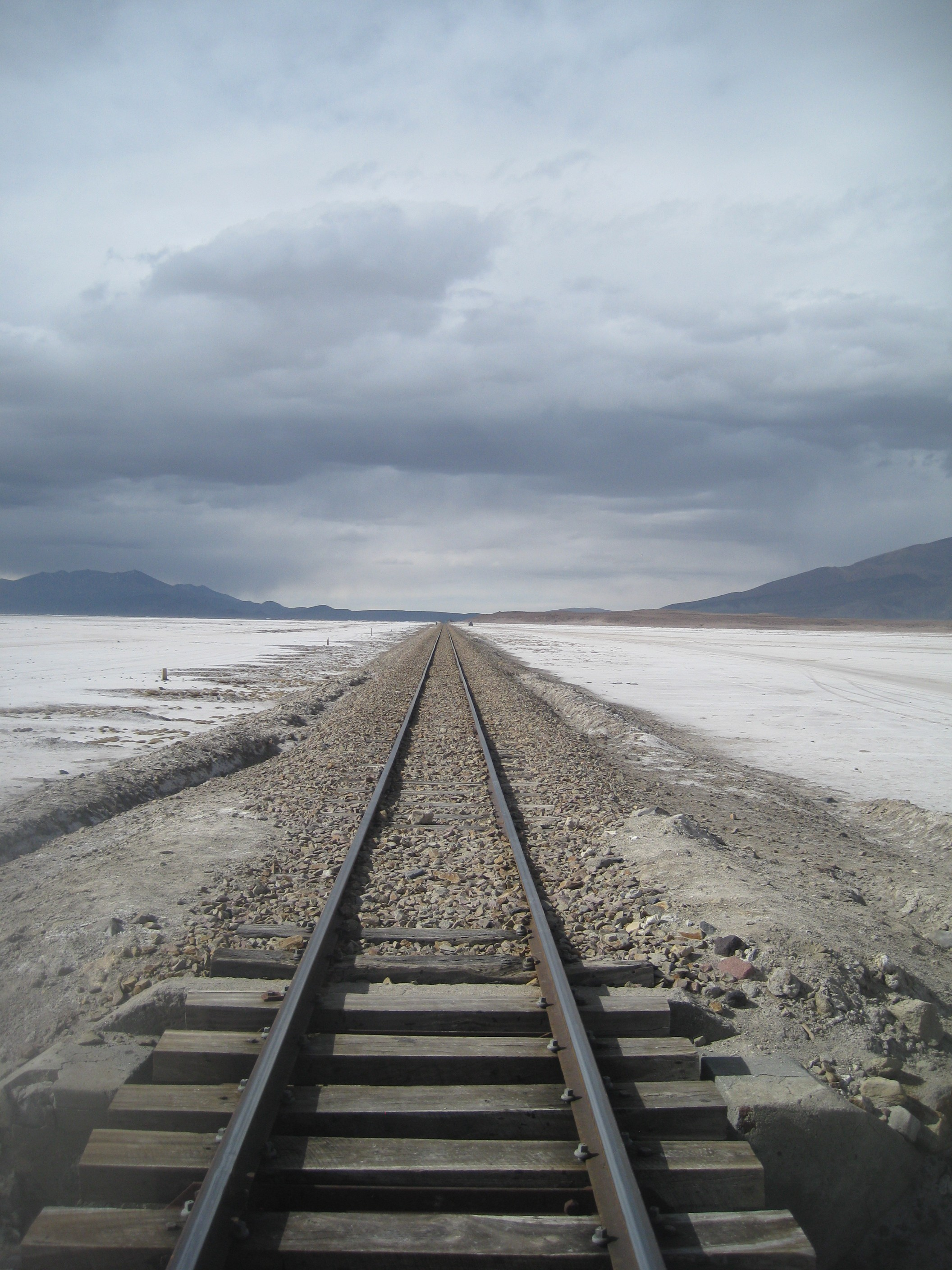 Train track on Bolivian Salt Flats. Todd's Travels Travel Blog - A little bit out of the ordinary.
