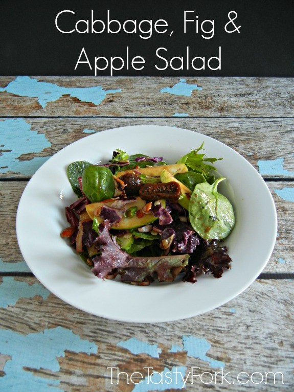 Cabbage, Fig and Apple Salad - a healthy salad perfect for weight loss! www.thetastyfork.com