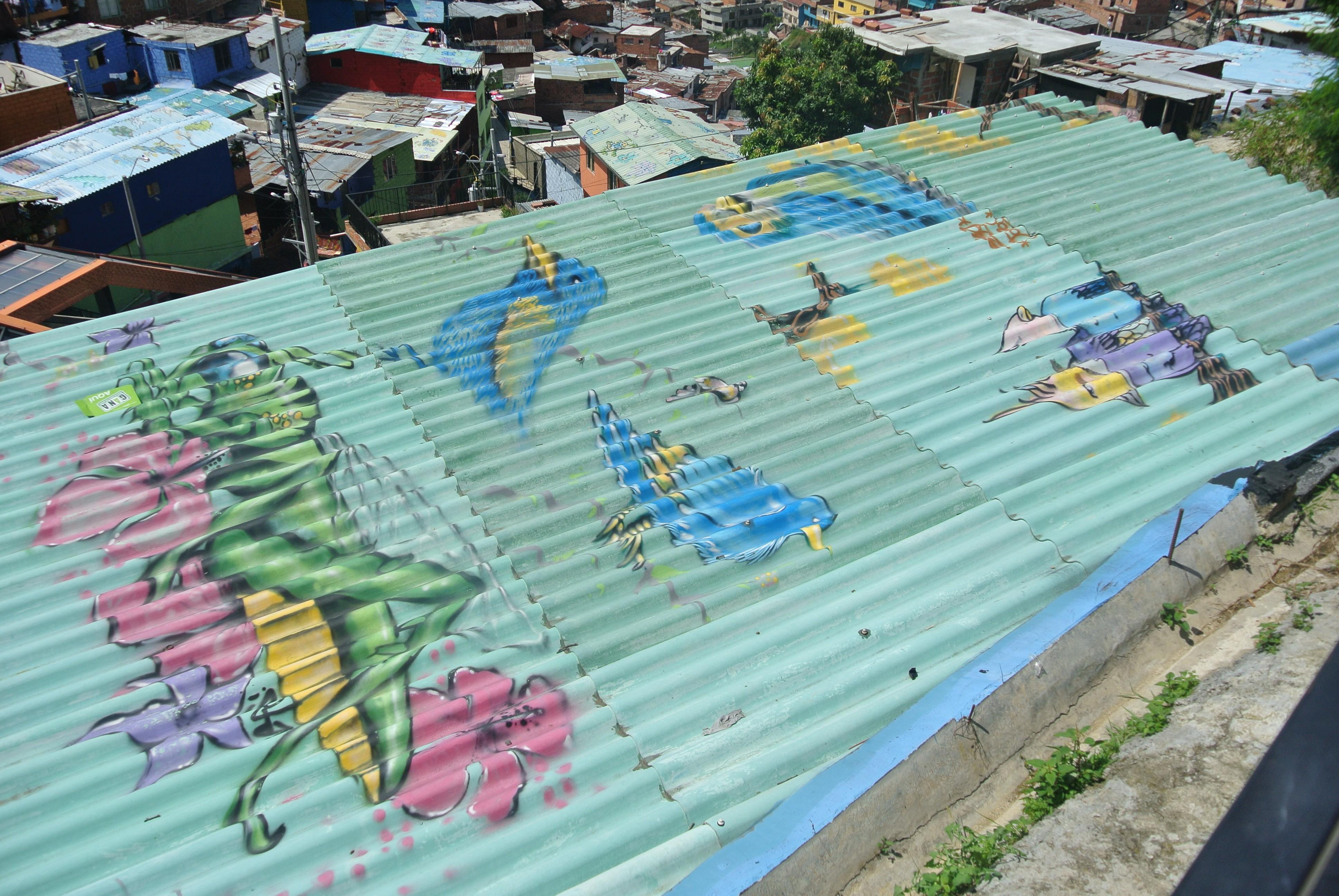 Colourful buildings, Comuna 13, Medellín, Colombia.