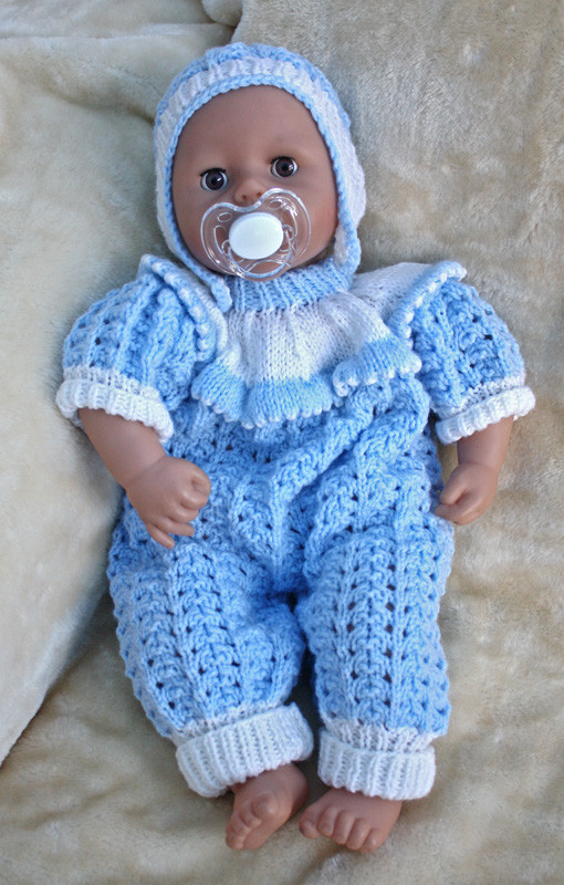 Knitting pattern for 15 to 18 inch doll onesie bodysuit and hat eBay
