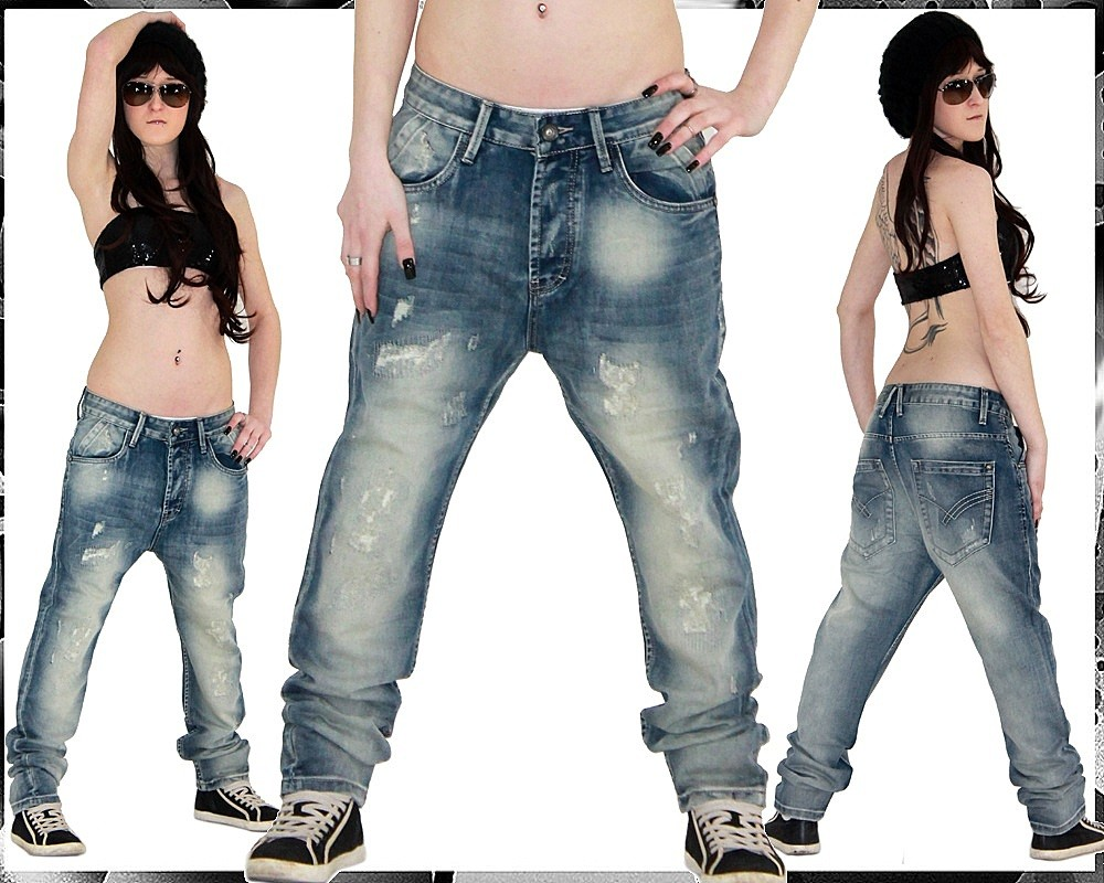 sexy damen jeans hose baggy boyfriend hip hop s xxl m43. Black Bedroom Furniture Sets. Home Design Ideas