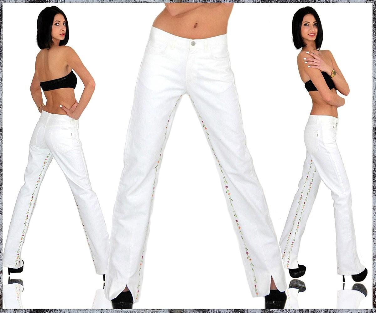super stylische sexy damen jeans hose in wei blume gebl mt bootcut schlag neu ebay. Black Bedroom Furniture Sets. Home Design Ideas