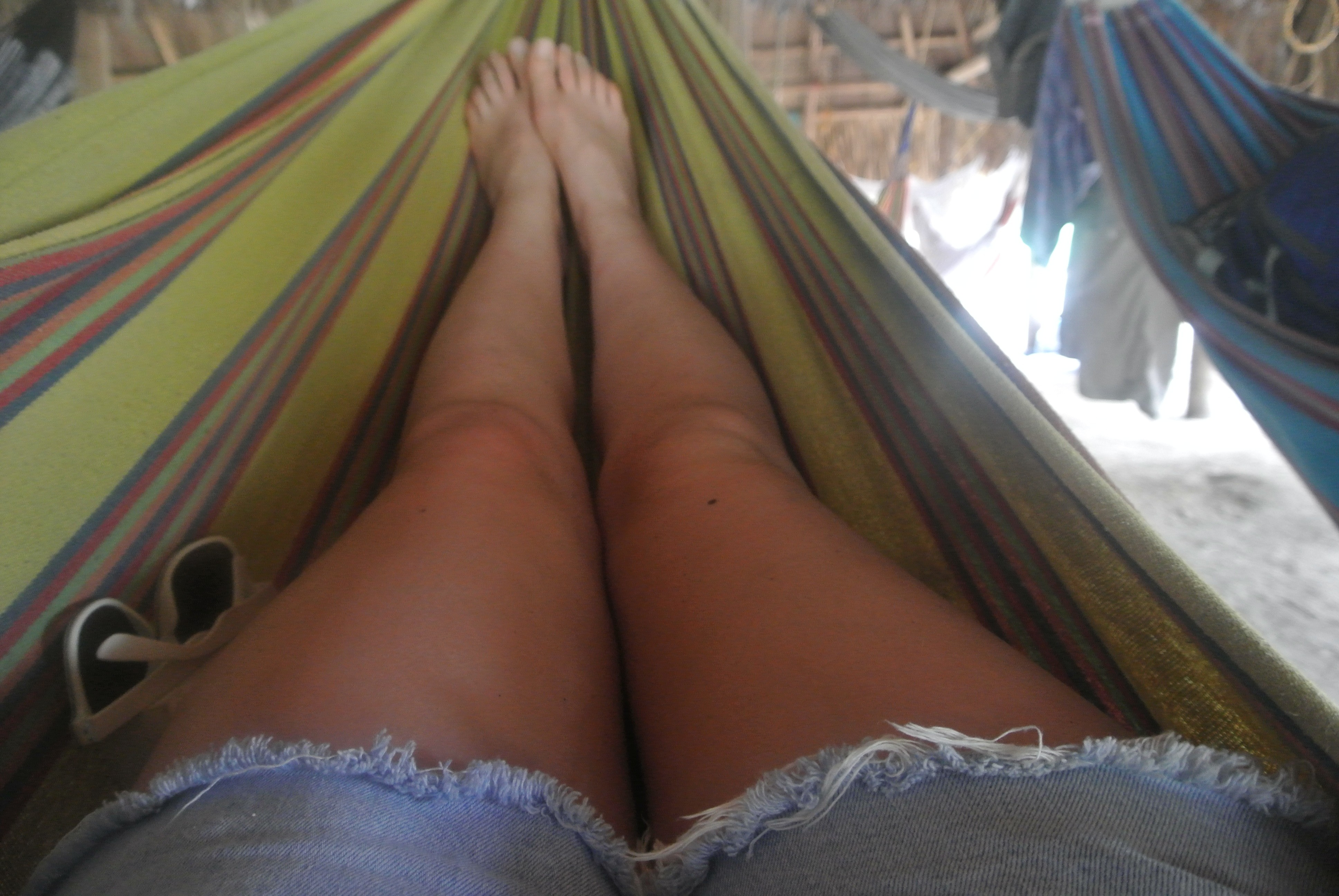 Sitting back and relaxing in a hammock in Parque Tayrona, Colombia
