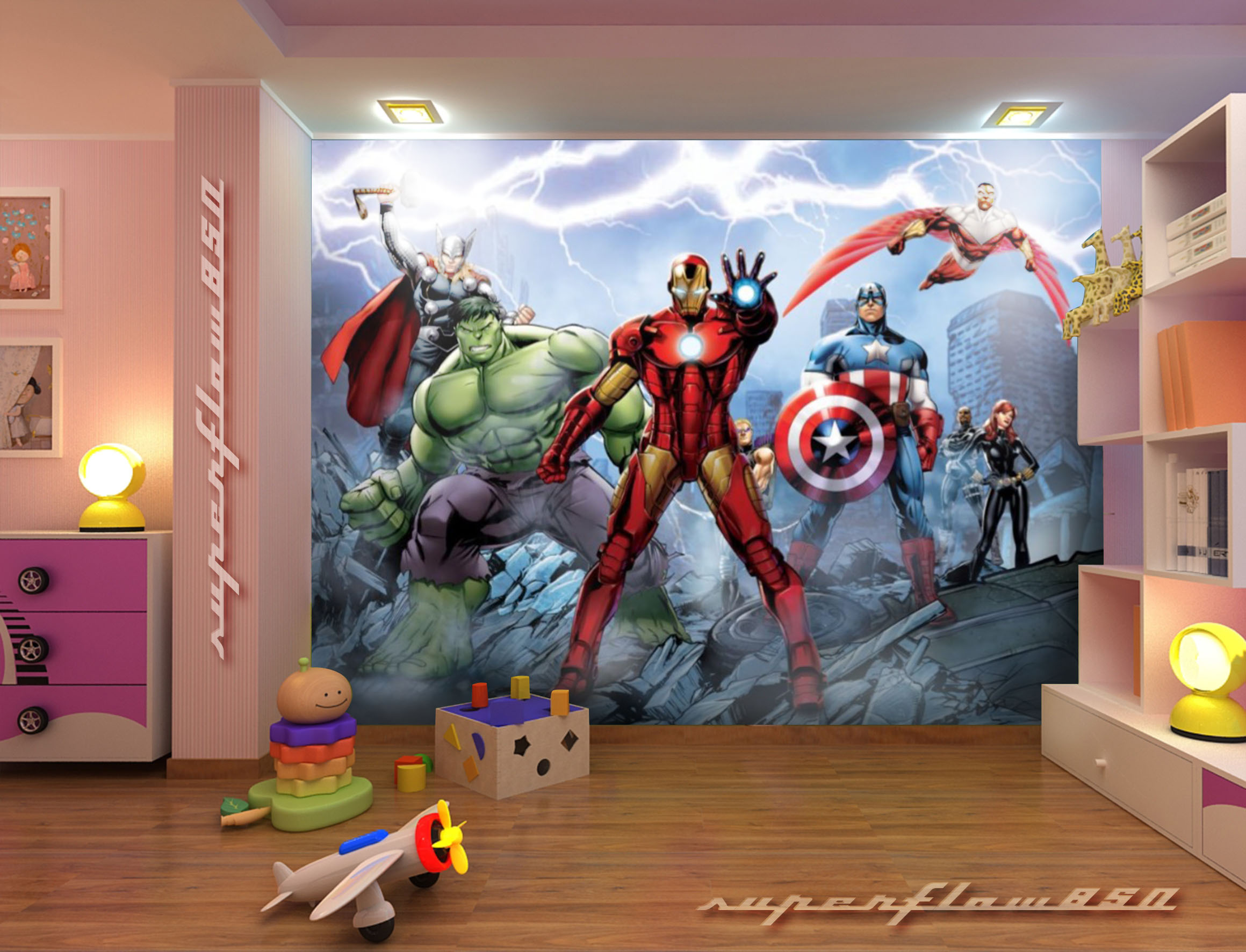 Marvel avengers kids photo wallpaper wall mural 2230 xxl for Avengers wall mural uk