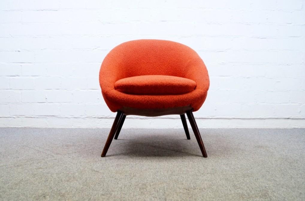 50er cocktail sessel in rot egg chair tolle form 2 von 3 ebay. Black Bedroom Furniture Sets. Home Design Ideas