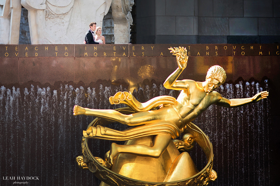 Bride and groom at Rockefeller Center with Prometheus Statue